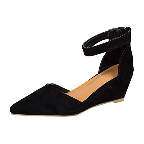 TUDUZ Damen Casual Kristall Outdoor Slippers Square Heel Sandalen Schuhe Slipper Espadrilles(Schwarz,40EU)
