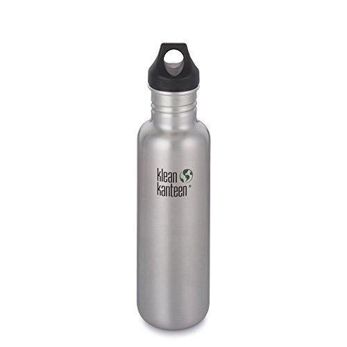 Klean Kanteen Edelstahlflasche mit Loop Cap 27 Unzen Classic, Brushed Stainless, 8020032 (Unzen-flasche 8)