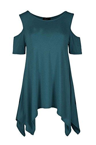 Janisramone - Débardeur - Uni - Manches Courtes - Femme * taille unique bleu sarcelle