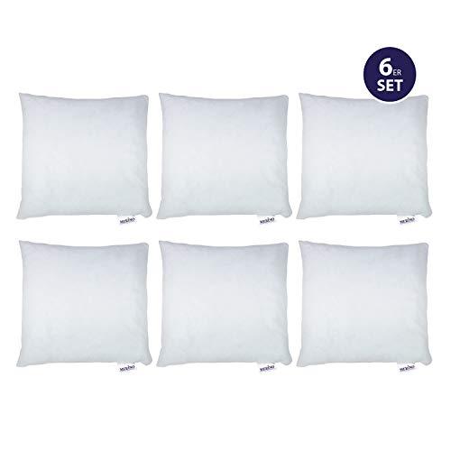 MERINO BETTEN 6er Set Kissen 40x40 | Dekokissen | Couchkissen | Kissen mit Reißverschluss