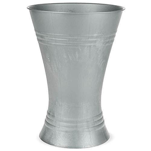 matches21 Vase Floristenvase Bodenvase Blumenvase Zinkoptik Kunststoff Metalliclook Struktur 1 STK Ø 21x29 cm - 4 Größen