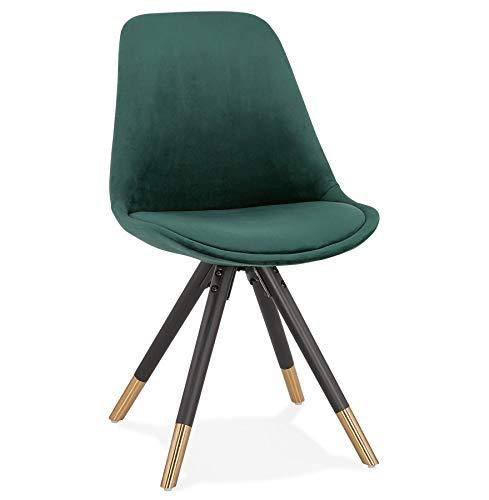 Alterego Chaise Design 'Hamilton' en Velours Vert et Pieds en Bois Noir