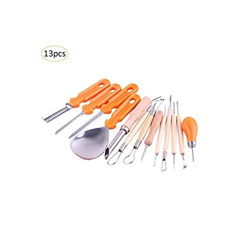 (13-teiliges Set Halloween Kürbis Schnitzwerkzeuge Obst Küche Cutter Kit für Kinder Erwachsene DIY Kürbis Lampe Dekoration Werkzeug Schnitzen)