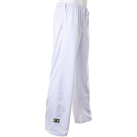 Unisex Blanco Brasil Capoeira Artes Marciales Abada Elástico Pantalones 5 Tallas (L)