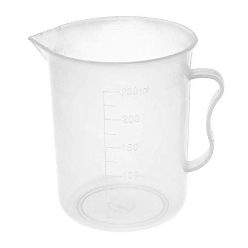 ZCHXD 250ml PP Laboratory Spout Container Measuring Cup Clear w Handle Cup Container