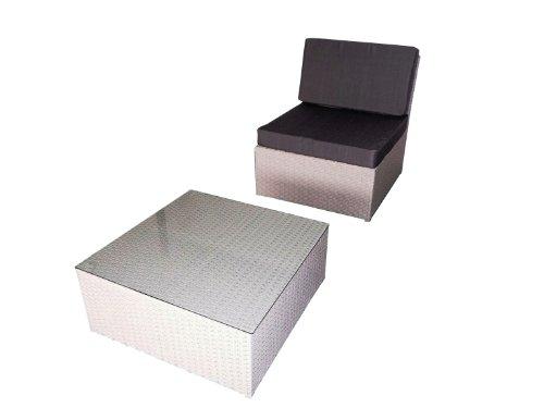 Chalet et jardin 1 fauteuil médian + table basse Astona