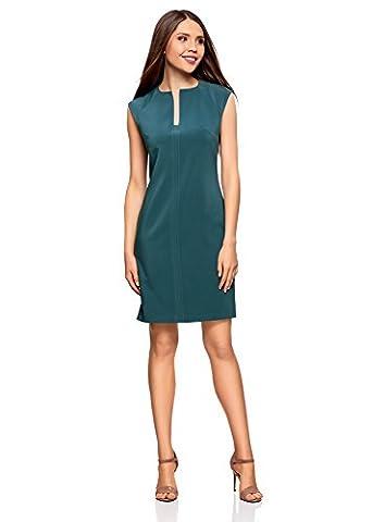 oodji Collection Women's Pencil Dress with Decorative Cutout, Turquoise, UK 14 / EU 44 / XL