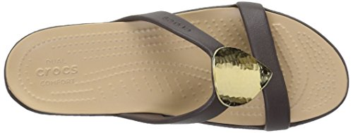 Crocs Sanrah Embelished Sandal Synthetik Badesandale Espresso/Gold