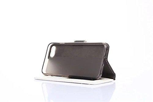 iPhone-7-Schutz-Case-Hülle-Tasche aufklappbar mit PU-Leder mit Platz für Kreditkarten Weiß