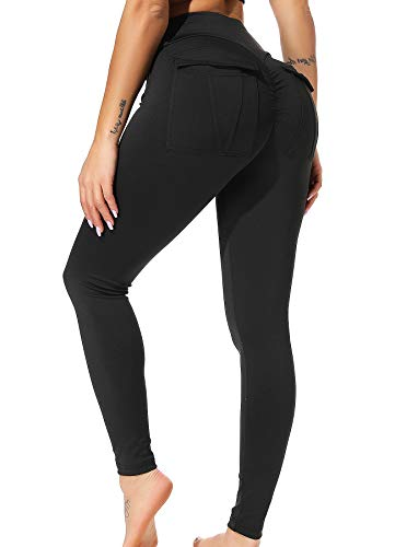 INSTINNCT Damen Push up Leggings Casualhose Sporthose Jogginghose Stretch Workout Fitness mit Taschen #2 Schwarz S