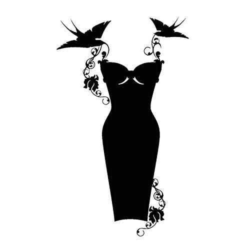 sybdnr 32 * 59 cm Vinyl Wandtattoo Kleid Shop Mode Kleidung Einkaufen Wand Fenster Aufkleber Abnehmbare Kunst Aufkleber