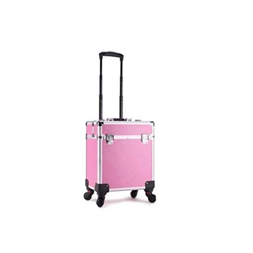 Trolley Case Cosmetics Beauté Voyage Maquillage Case Storage Vanity Case Storage, Studio de beauté, Maquilleur Professionnel (Couleur : Rose Rouge, Taille : Heightening)