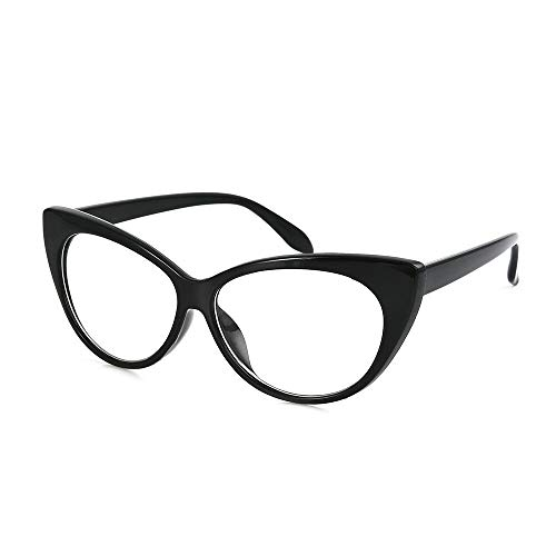 0cf08a6b87d5 Boolavard Vintage Oval Sunglasses Women Cateye Mod Style Plastic Frame  (Black)