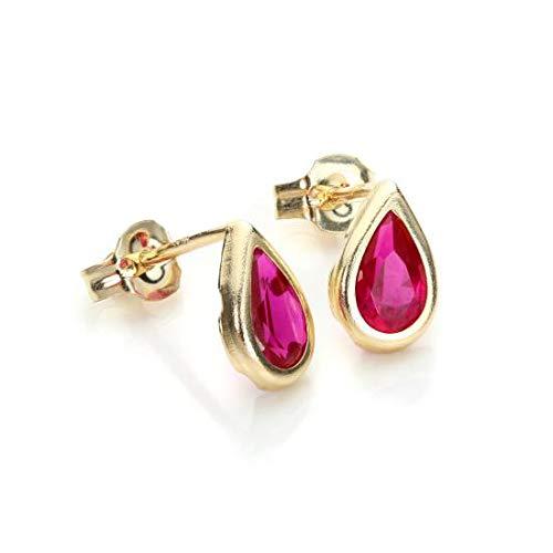 9 Karat Gelbgold Rubinrot Kristall Juli Geburtsstein Ohrringe (Geburtsstein Juli Ohrringe)