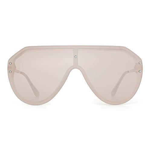 JIM HALO Oversized Schild Sonnenbrillen Randlos Flach Top Spiegel Brillen Damen Herren(Matter Transparenter Rahmen/Leichte Tawny Linse)