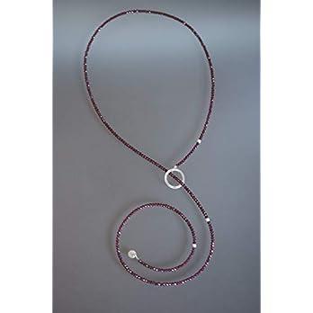 little jewel — Y-Edelstein-Kette aus Granat und 925er Sterling Silber — eleganter, edler Stil
