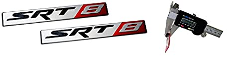2 x (Pair / Set) SRT8 Street Racing Technology ALUMINUM Emblem Badge Nameplate Logo Decal Rare (NOT ABS PLASTIC)