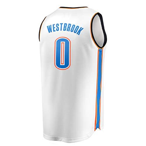 Mamwd Thunder Westbrook 0 Besticktes Herren Jersey (Weiß, M)