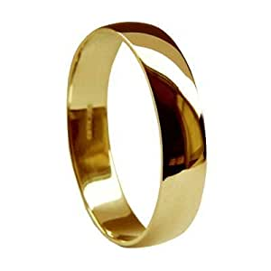 QUALITY UK 18ct Yellow Gold 5mm D Shape Wedding Ring Medium Band 4.0g Size I