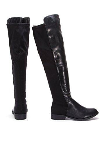 Mesdames pour plus de genou élastique plat noir Tirer sur talon bas Sexy Bottes Noir