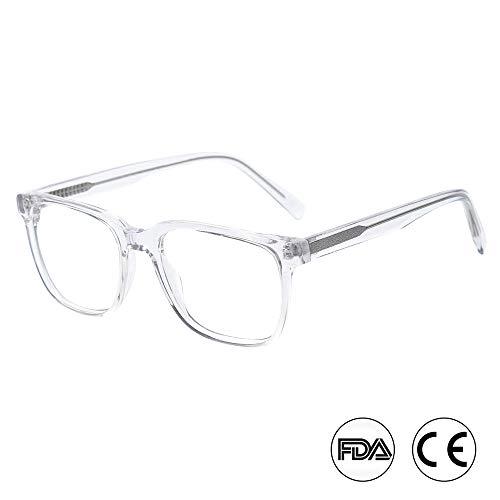 Blaulichtfilter Computer Gaming Brille Blendschutz UV-Schutz Rechteckig Brillen von Kirka für Männer und Frauen (WD1067C3 Durchsichtig)