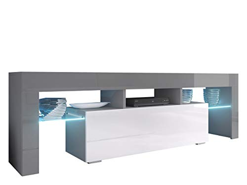 Mirjan24 TV Board Lowboard Toro 138, TV Lowboard mit Grifflose Öffnen, Unterschrank, Sideboard Mediaboard, Fernsehschrank, Mediaboard (mit Blauer LED Beleuchtung, Grau/Weiß Hochglanz)