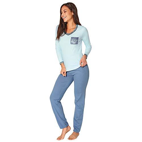 Pijama Camiseta con Encaje elástico y Bolsillo a Contraste Mujer by Ve - 023778,Azul Claro,M