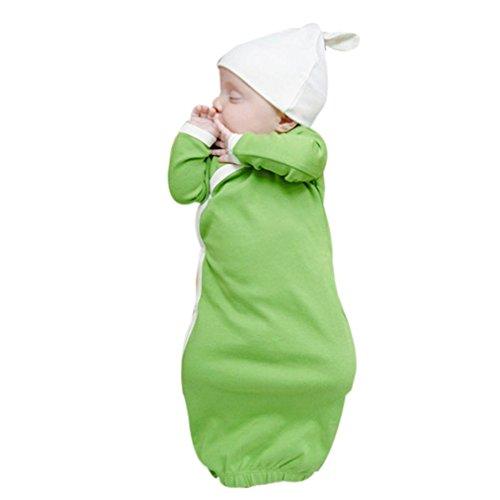 Baby Nachtwäsche, Janly Jungen Mädchen Plain Langarm Schlaf Kleid Fancy Hut Kleid Schlafsack Nachtkleider Kleidung Set (Alter: 6-9 Monate, Grün) (Baby Mädchen Schlaf-kleidung)