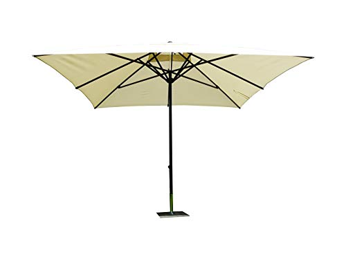 Maffei Art 139q Kronos parasol TELESCOPIQUE carré cm 300x300, tissu PolyMA imperméable, Made in Italy. Coluleur ecru.