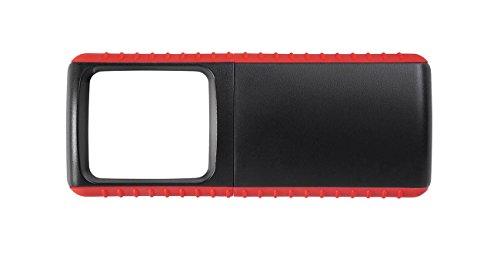 Wedo 271741502 Lupe Outdoor Rechtecklupe (mit LED Beleuchtung inklusive Batterien) schwarz/rot