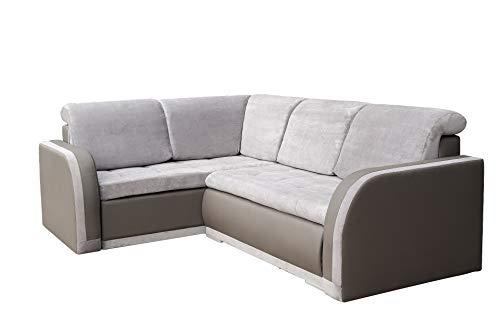 mb-moebel Ecksofa Sofa Eckcouch Couch mit Schlaffunktion und Bettkasten Ottomane L-Form Schlafsofa Bettsofa Polstergarnitur – VERO III