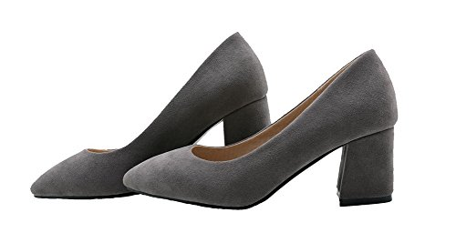 VogueZone009 Femme Tire à Talon Correct Suédé Couleur Unie Pointu Chaussures Légeres Gris