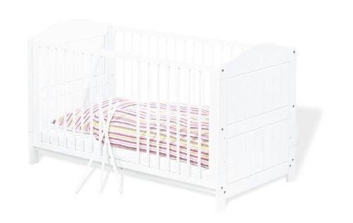 Preisvergleich Produktbild Pinolino - 111617 - Kinderbett Nina 140 x 70 cm - mit 3 Schlupfsprossen, aus vollmassiver Fichte, weiß lasiert