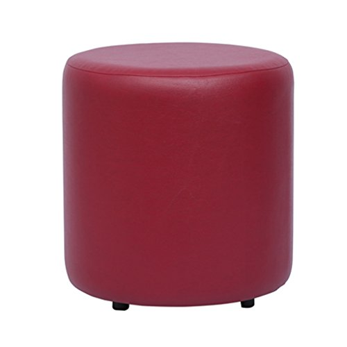 Columbus First Furniture Britto Upholstered Round Faux leatherette Pouffe (18 Diameter,Maroon,30472)