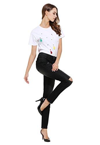 ZLZ Jeans Donna Distrutti Pantaloni Distressed Stretch Denim Nero