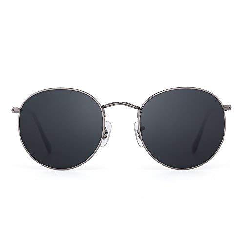 JIM HALO Retro Runden Spiegel Sonnenbrille Vintage Reflektierend Glas Linsen Dame Herre Grau