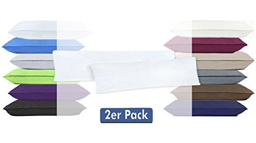 Doppelpack Serie Jersey Kissenbezüge mit Reißverschluss aus 100% Baumwolle in 12 modernen Farben und 4 Größen(40 x 145 cm (Stillkissenbezug), Weiß)