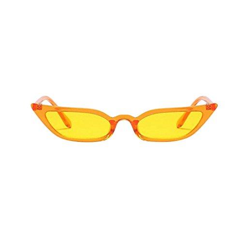 Makefortune Frauen Sonnenbrillen, Frauen-Weinlese-Katzenaugen-Sonnenbrille-Retro- kleiner Rahmen UV400 Eyewear arbeiten Damen-Gläser um (Gelb)