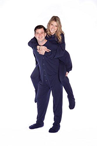 Marineblau Baumwolle gestrickt Erwachsene Onesie Fuß pyjamas mit Butt Flap hinteren Klappe für Männer & Frauen (Stricken Herren-pyjama)