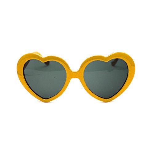HuaYang 2013 très demandé en forme de cœur l'amour rétro lunettes de soleil(Jaune) EfiH0em9r