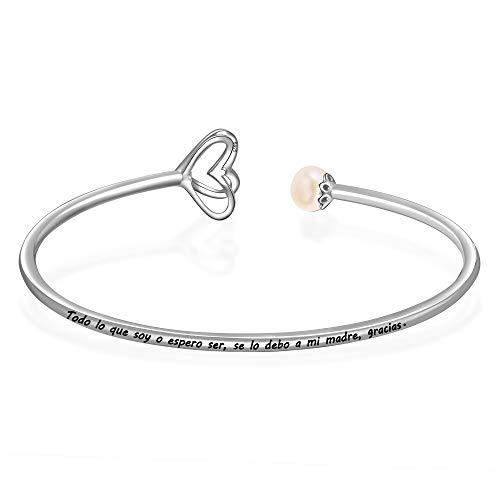 eac4d58fad50 LOVORDS Brazalete Abierto Elástica Mujer Grabado Plata de Ley 925 Corazón  Perla Cultivada Blanca de Agua