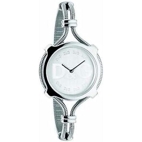 Dolce & Gabbana Lisbon DW0140 - Reloj de mujer de cuarzo con correa de acero inoxidable plateada