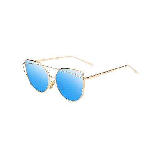 Sportbrillen, Angeln Golfbrille,NEW Cat Eye Vintage Brand Designer Rose Gold Mirror Sunglasses For Women Metal Reflective Flat Lens Sun Glasses Female Oculos 5