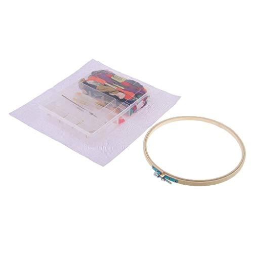 Tubayia 123 Stück/Set Stickerei Starter Kit Kreuzstich Werkzeug mit 16 Sticknadeln, 50 Farbfäden, Schere usw - Punch-stickerei-starter-kit
