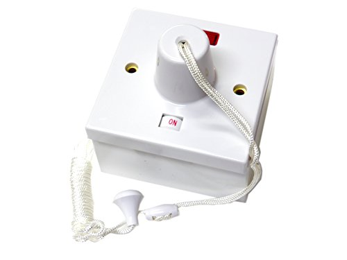 45 amp shower switch ceiling pull cord comes with 44mm surface backbox - double pole by S-LINE