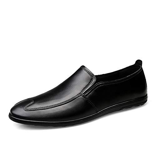 Bequem Sommer Komfortable Herren Classic Penny Loafers Driving Flache Geprägte Schuhe Echtes Leder Lässig Leichte Atmungsaktive Runde Kappe Slip On Langlebig (Color : Black Embossed, Größe : 46 EU) - Leder-leichte Loafer