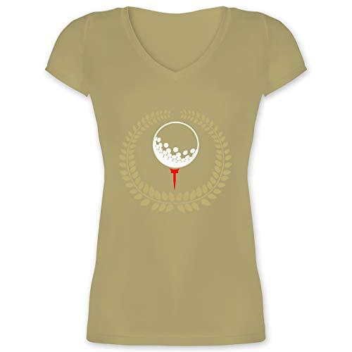 Golf - Lorbeerkanz Golfball Golf-Tee - XL - Olivgrün - XO1525 - Damen T-Shirt mit V-Ausschnitt