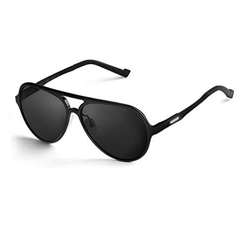 HODGSON Polarisierte Sonnenbrille Herren 100% UV400 Schutz Aviator Pilotenbrille für Frauen und Männe (Schwarz)