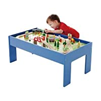 Chad Valley Wooden Table and 90 Piece Train Set.