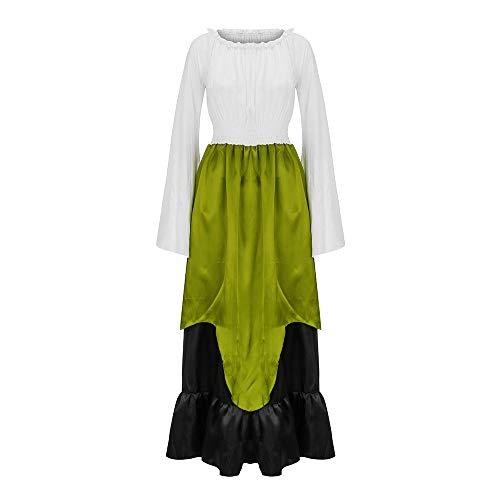 Fenverk Frau Abend Party Tragen Cosplay Retro Renaissance Lange Maxi Kleid Mittelalterlich Schulterfrei Sammeln Taille SchlaghüLse MäDchen Inspiriert üBergrößE Jahrgang KostüMe(Grün,2XL)